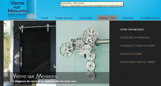 Un site vitrine pour du verre de qualité professionnelle destiné à un public de professionnels également