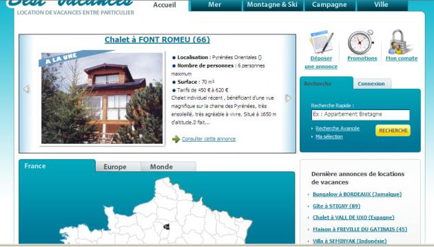 création de site d'annonces de locations de vacances et référencement du site internet