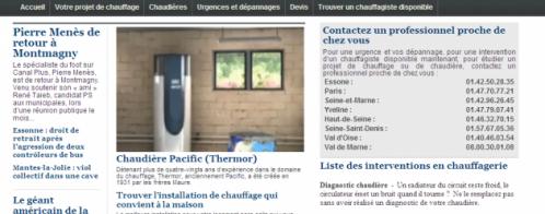 Création du site internet d'un chauffagiste